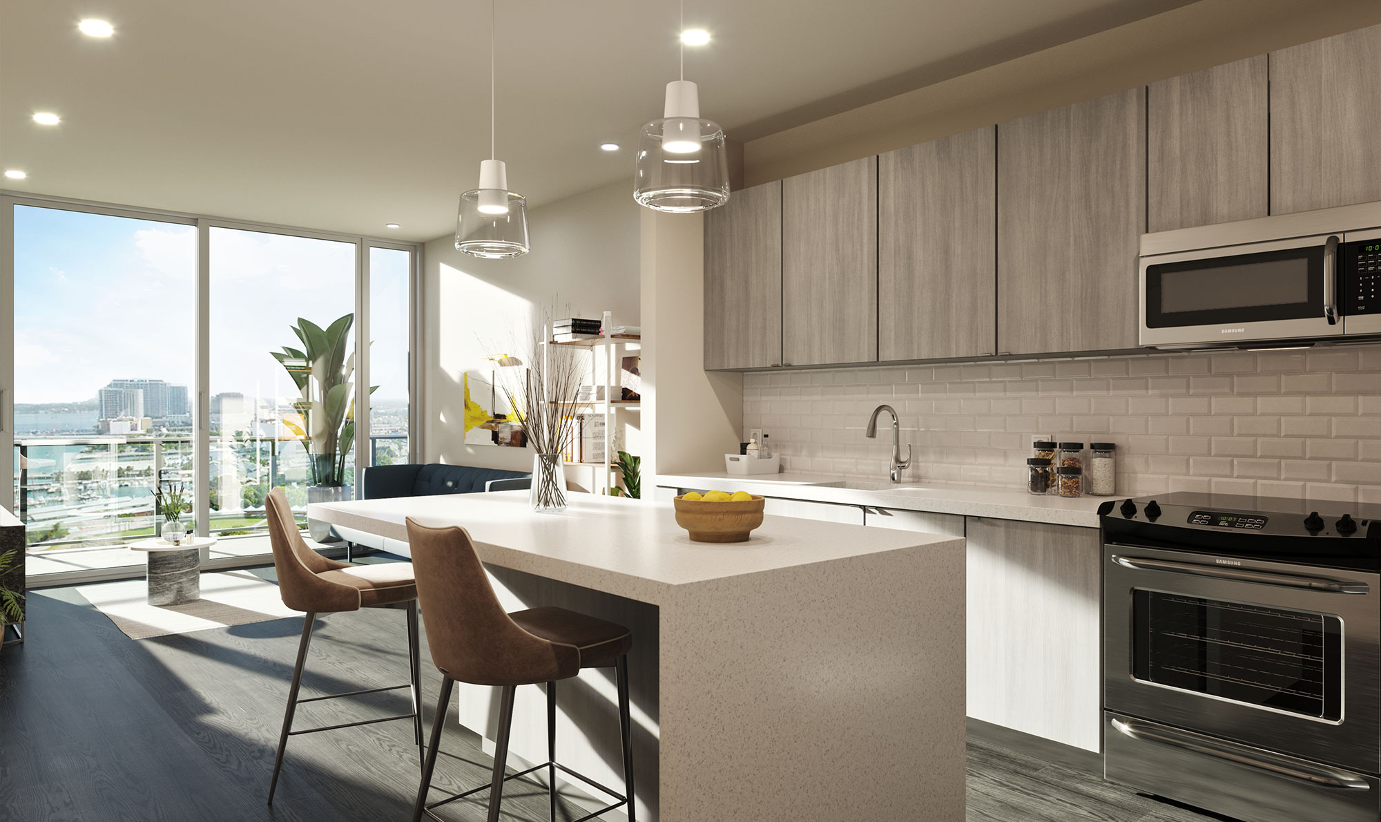 Open concept kitchen and living room with quartz countertops, kitchen island with bar seating, designer lighting, and tile backsplash
